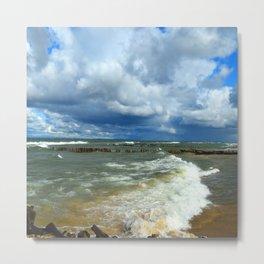 Waves at Whitefish Point Metal Print