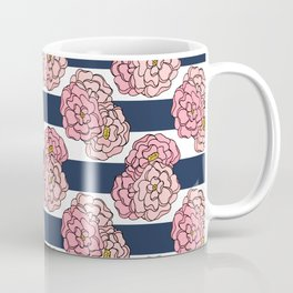 Pink Peony Floral on Navy Blue and White Stripes Coffee Mug