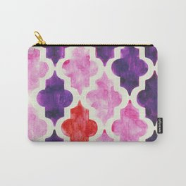 Quatrefoil pattern in muted pink, purple and red Carry-All Pouch
