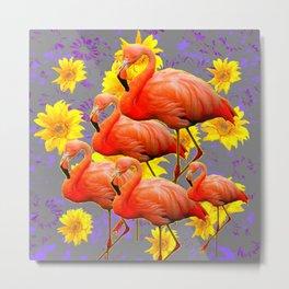 YELLOW FLOWERS  GREY ART DECO SAFFRON FLAMINGOS ART Metal Print