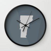 vermont Wall Clocks featuring Vermont State by Eric Heikkinen