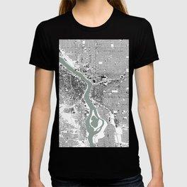 Portland, OR City Map Black/White T-shirt