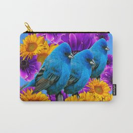 THREE BLUE BIRDS & PURPLE YELLOW FLOWERS Carry-All Pouch