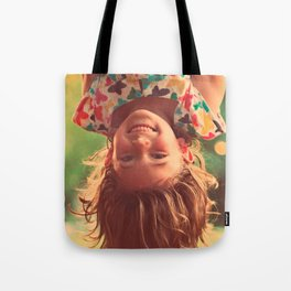 Girl Upside Down Smiling Child Kids Play Tote Bag