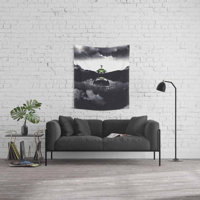 The Landing A Zebes Surrealism Wall Tapestry