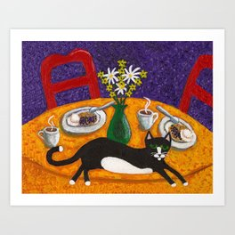 Tuxedo Cat and Coffee on a Colorful Table Art Print