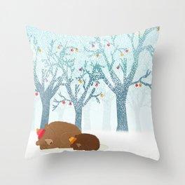 Sleeping winter Throw Pillow