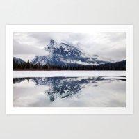 Mount Rundle reflection in Vermillion Lakes, Alberta Art Print