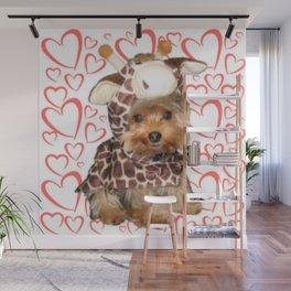 Dog Giraffe Costume | Yorkie with Hearts | Nadia Bonello Wall Mural