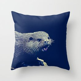 fish otter on a rock vector art dark fog Throw Pillow