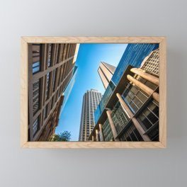 Low angle view perspective on Pitt Street in Sydney Framed Mini Art Print