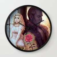 beauty and the beast Wall Clocks featuring Beauty & the Beast by the-untempered-prism