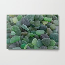 Green Sea Glass - Up Close & Personal Metal Print