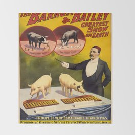 Vintage poster - Trained pigs Throw Blanket