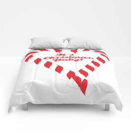 Candy Cane - It's Christmas, Baby! #xmas #christmas #minimal #love #design Comforters