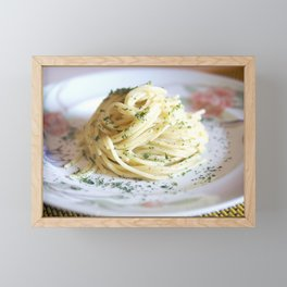 Spaghetti with parsley, ginger and garlic. Framed Mini Art Print