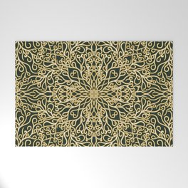 Green and Gold Elegance Welcome Mat