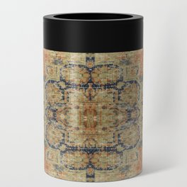 Vintage Woven Coral and Blue Can Cooler
