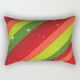 Christmas Pattern, Green, Red, Stars, Snowflakes Rectangular Pillow