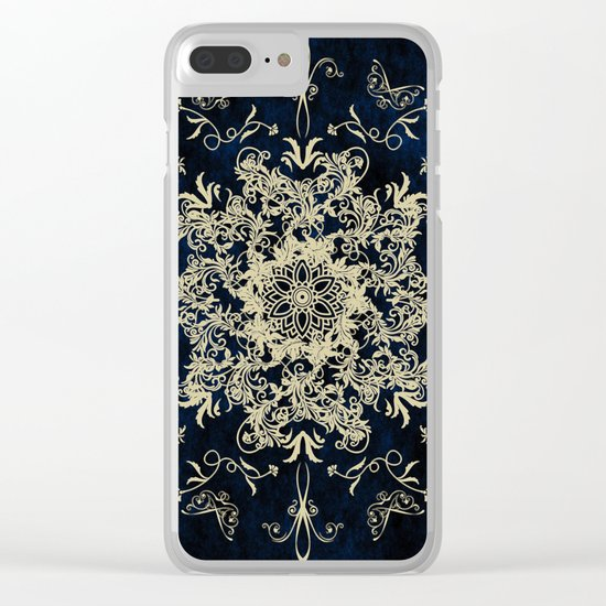 Pale Gold Floral Design On A Blue Textured Background Clear iPhone Case