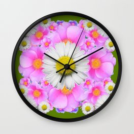 Avocado Color Shasta Daisies Rose Pattern Garden Wall Clock