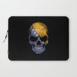Dark Skull with Flag of Bosnia and Herzegovina Laptop Sleeve