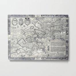 Region map of Zeeland, The Netherlands by Jacob van Deventer (1560) Metal Print