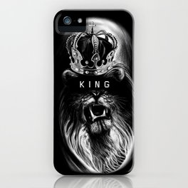 Lion, Lionart, King, Animal, Black,Minimal,Interior, Black White,Wall art, Art Print,Trendy decor iPhone Case