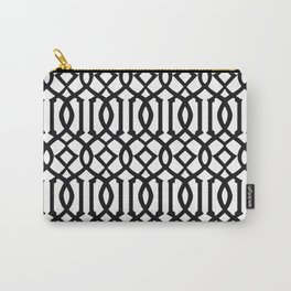 White & Black Imperial Trellis Carry-All Pouch