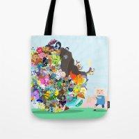 katamari Tote Bags featuring Adventure Time - Land of Ooo Katamari by Sin nombre