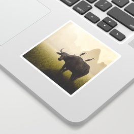 Water Buffalo And Egrets Sticker