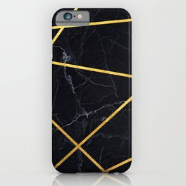 Black marble with gold lines iPhone Case