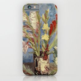 Vase with Gladioli and China Asters by Vincent van Gogh,1886 iPhone Case