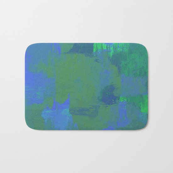 A Different View Of Earth - Abstract, textured, globe painting Bath Mat