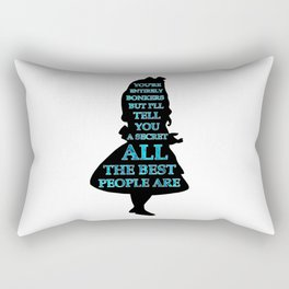 Alice In Wonderland - Watercolor Text -  Have I Gone Bonkers Quote Rectangular Pillow