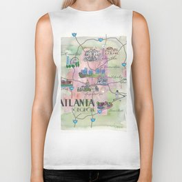 Atlanta Favorite Map with touristic Top Ten Highlights in Colorful Retro Style Biker Tank