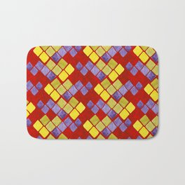 Blue yellow gold mosaic pattern on metallic red Bath Mat