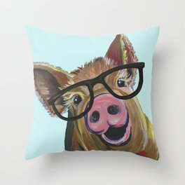 Cute Pig, Pig Art, Farm Animal Throw Pillow