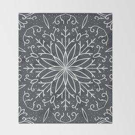 Single Snowflake - dark gray Throw Blanket