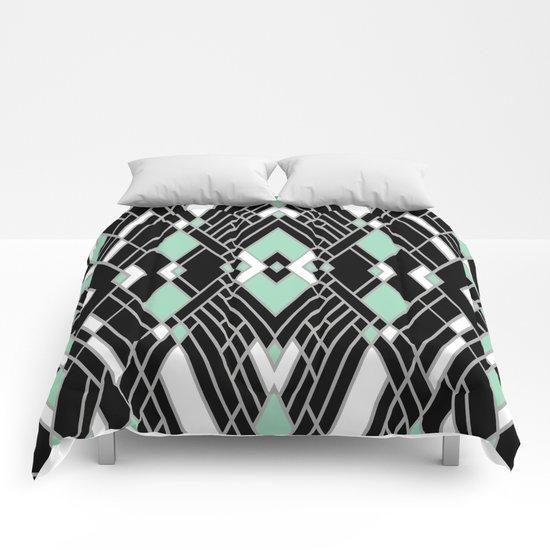 Art Deco Zoom Mint Comforters