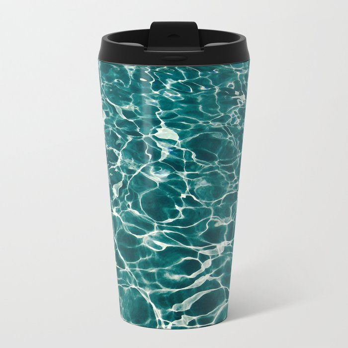 SEA - blue , white ocean , waves , clear , clarity Metal Travel Mug