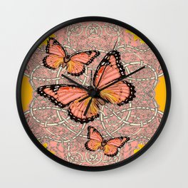 CORAL COLORED MONARCH BUTTERFLIES FANTASY ART Wall Clock