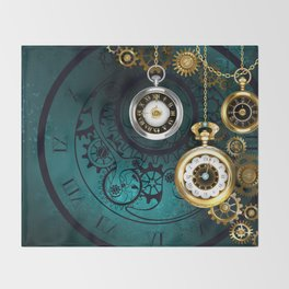 Clock with Gears on Green Background ( Steampunk ) Throw Blanket