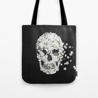 death Tote Bags featuring A Beautiful Death - mono by Terry Fan