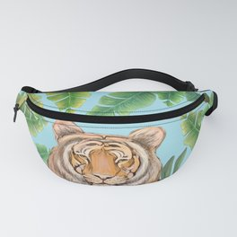 Tropical tiger jungle, tropical flowers Fanny Pack