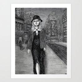 Untitled - charcoal drawing - beauty, woman, figure, cityscape Art Print