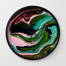 Fluid Acrylic Painting Marbling Flow Dark Palette Wall Clock
