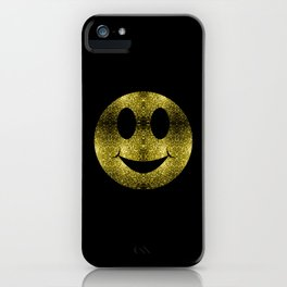 Sparkly Smiley Yellow Gold sparkles iPhone Case