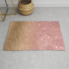 Rose Gold Glitter Crumbled Foil Ombre Gradient Rug
