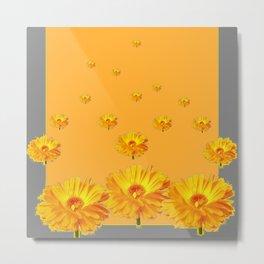 FLOATING GOLDEN FLOWERS  GREY COLLAGE Metal Print